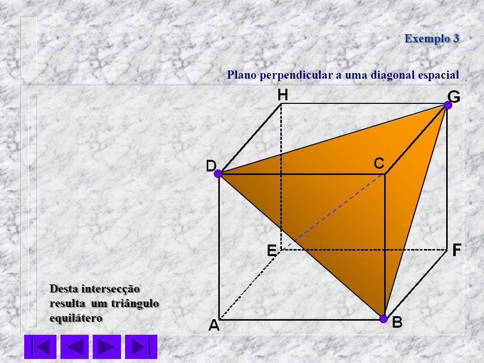 Exemplo 3 Plano perpendicular a uma diagonal espacial.