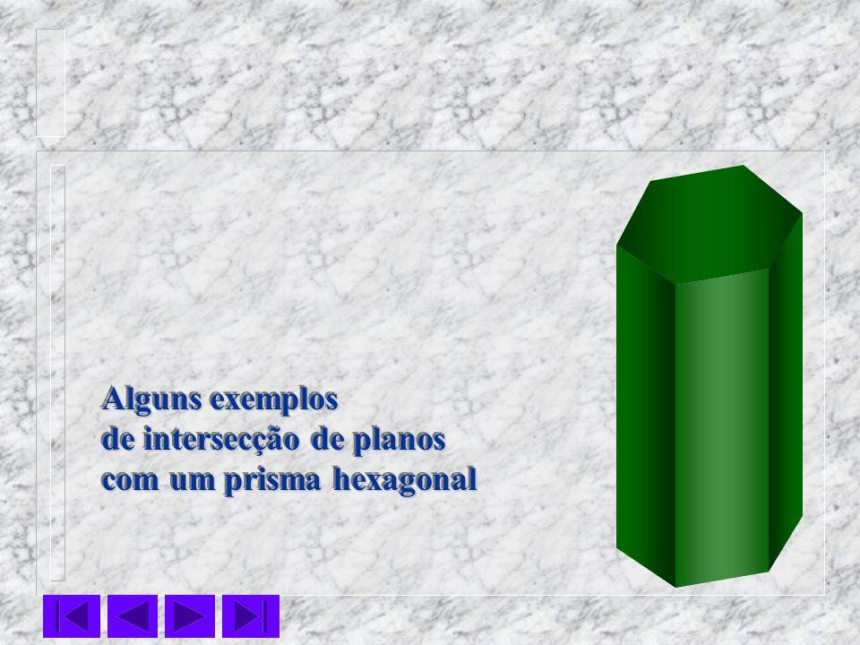 Alguns exemplos de intersecção de planos com um prisma hexagonal