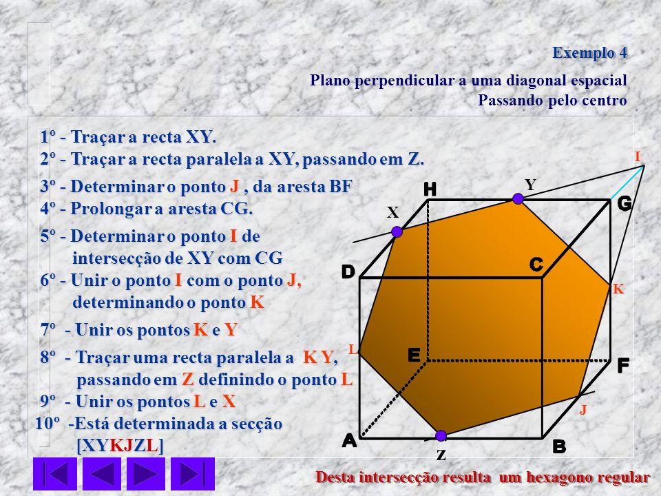 Exemplo 4 Plano perpendicular a uma diagonal espacial. Passando pelo centro. 1º - Traçar a recta XY.