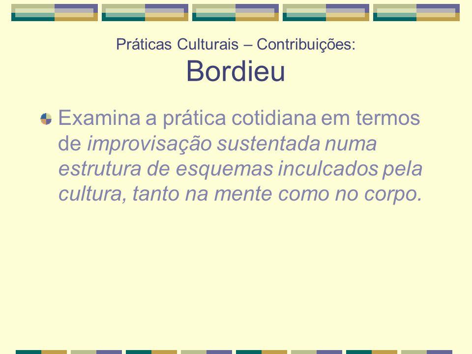 Práticas Culturais – Contribuições: Bordieu