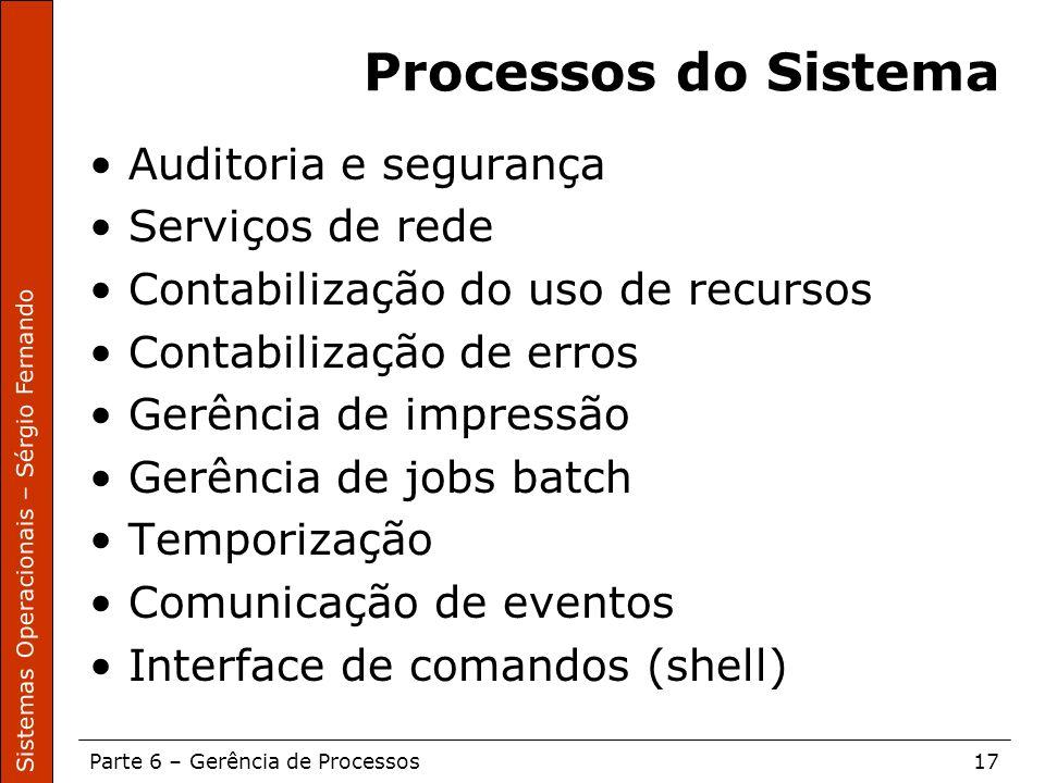 Processos do Sistema Auditoria e segurança Serviços de rede