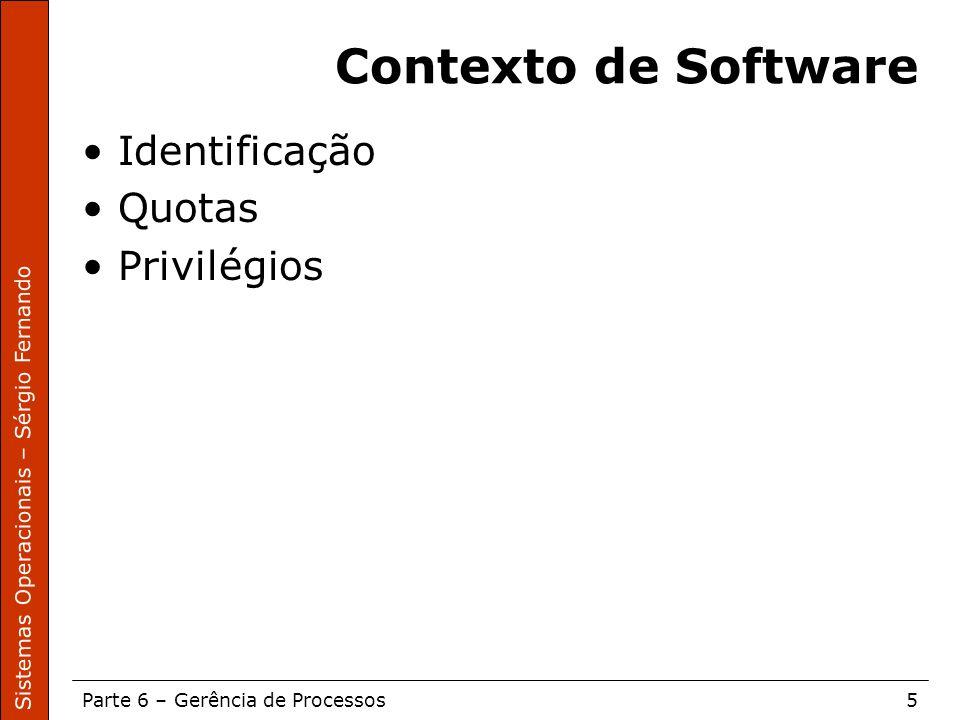Contexto de Software Identificação Quotas Privilégios