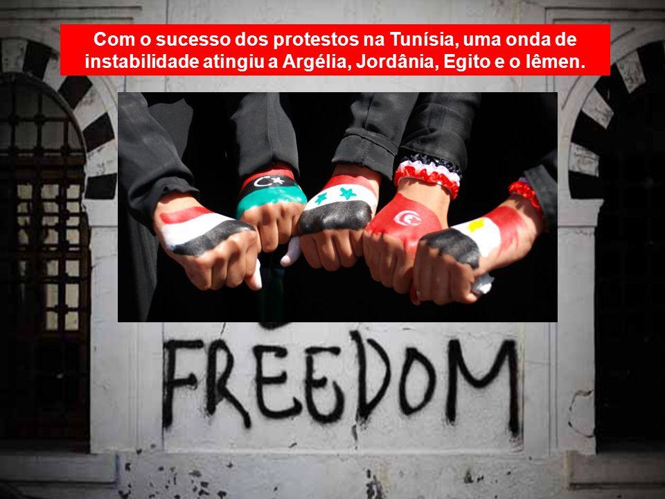 Com o sucesso dos protestos na Tunísia, uma onda de instabilidade atingiu a Argélia, Jordânia, Egito e o Iêmen.