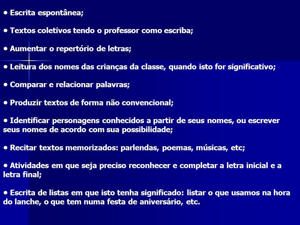• Escrita espontânea; • Textos coletivos tendo o professor como escriba; • Aumentar o repertório de letras;