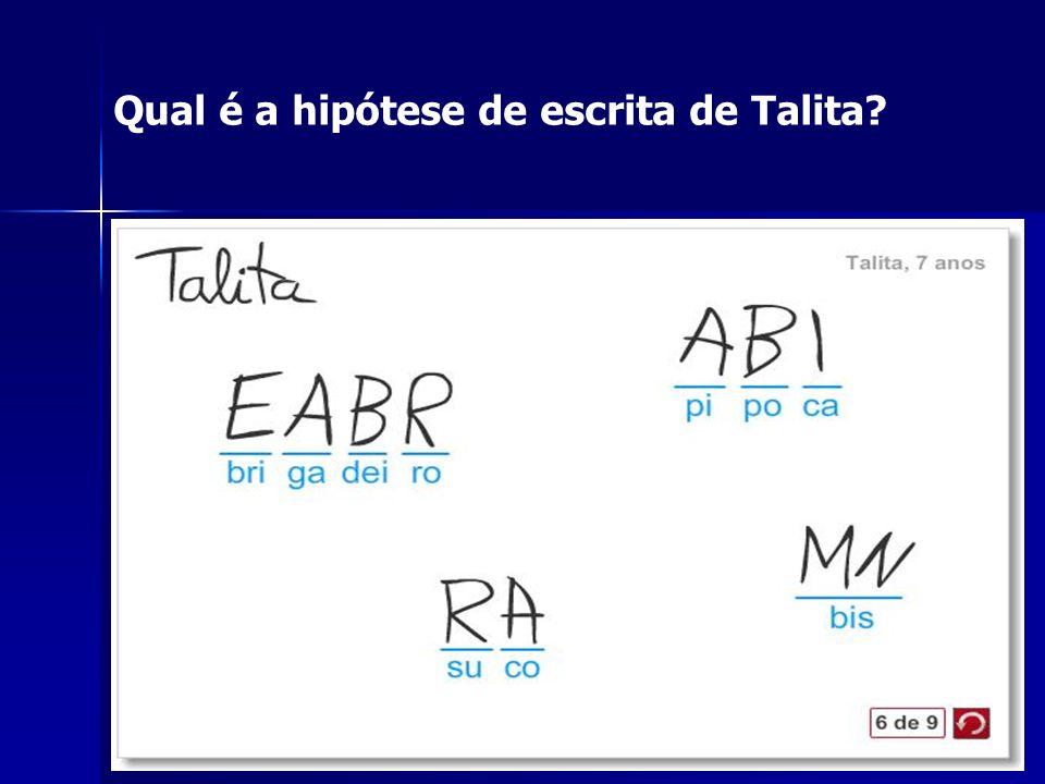 Qual é a hipótese de escrita de Talita