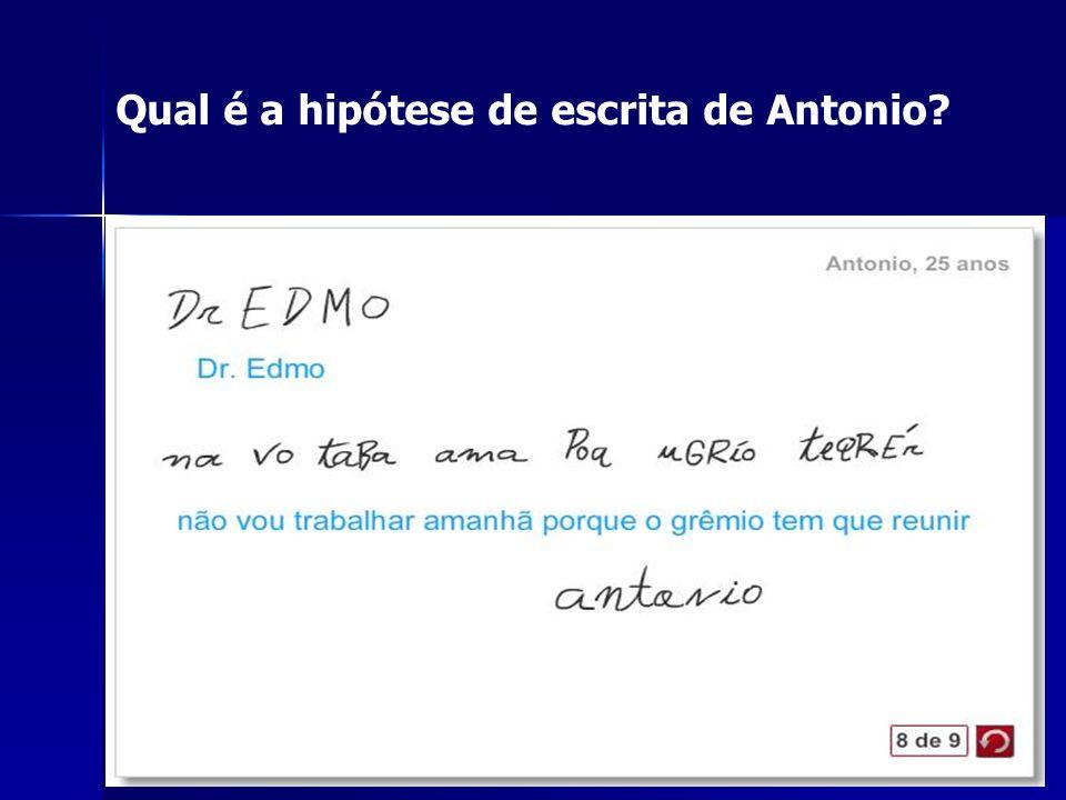 Qual é a hipótese de escrita de Antonio
