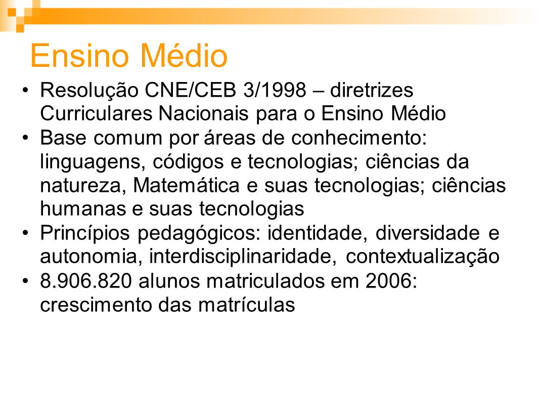 Ensino Médio Resolução CNE/CEB 3/1998 – diretrizes Curriculares Nacionais para o Ensino Médio.