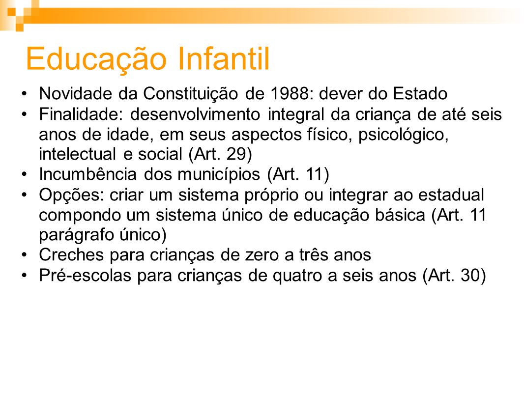 Educação Infantil Novidade da Constituição de 1988: dever do Estado