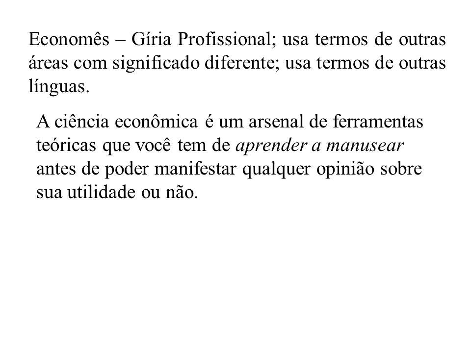 Economês – Gíria Profissional; usa termos de outras áreas com significado diferente; usa termos de outras línguas.