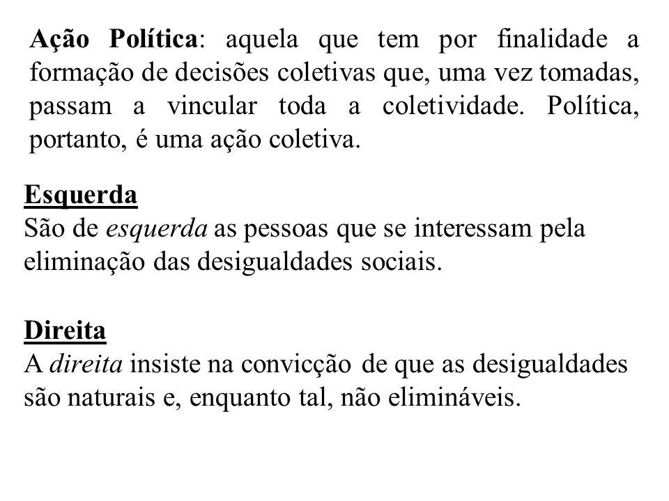 Ação Política: aquela que tem por finalidade a formação de decisões coletivas que, uma vez tomadas, passam a vincular toda a coletividade. Política, portanto, é uma ação coletiva.