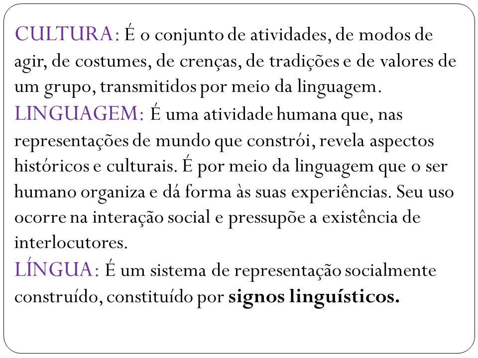 CULTURA: É o conjunto de atividades, de modos de agir, de costumes, de crenças, de tradições e de valores de um grupo, transmitidos por meio da linguagem.