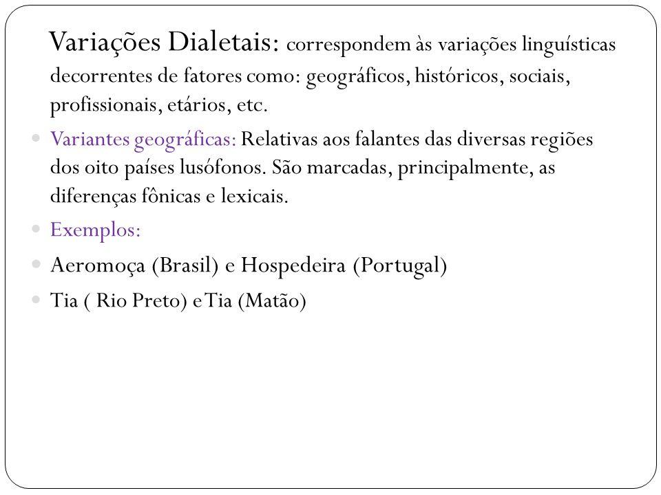 Variações Dialetais: correspondem às variações linguísticas decorrentes de fatores como: geográficos, históricos, sociais, profissionais, etários, etc.