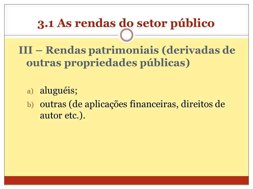 3.1 As rendas do setor público