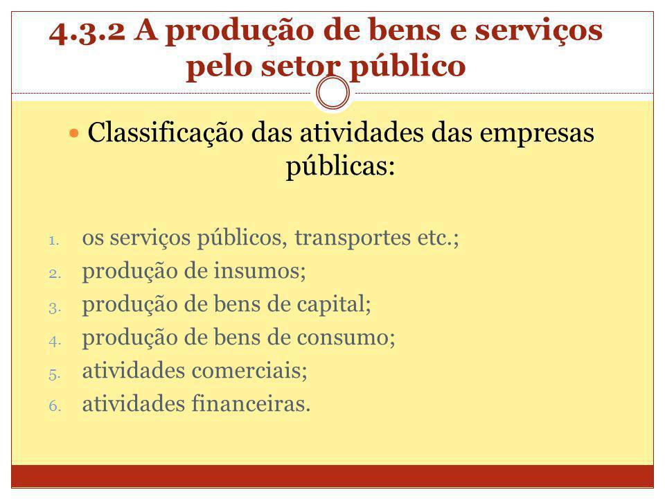 4.3.2 A produção de bens e serviços pelo setor público