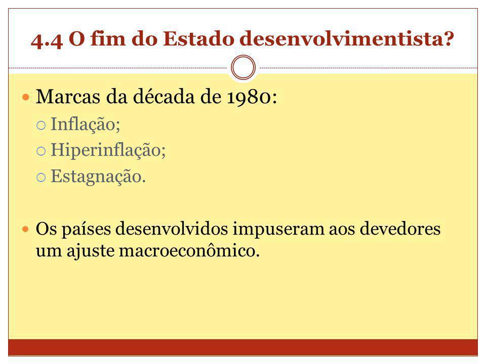 4.4 O fim do Estado desenvolvimentista