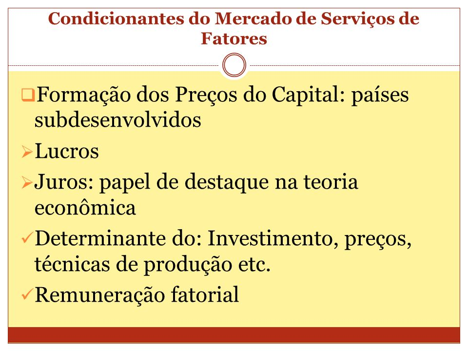Condicionantes do Mercado de Serviços de Fatores