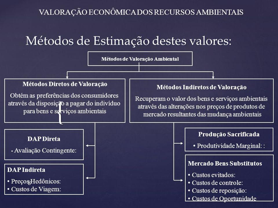 Métodos de Estimação destes valores: