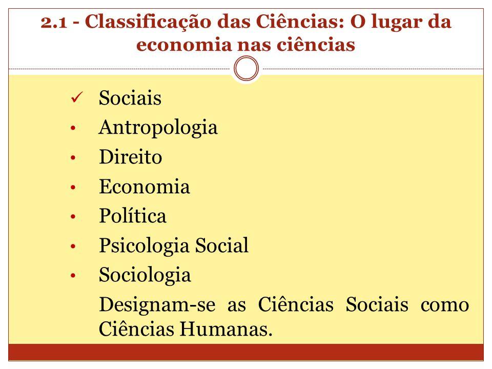 2.1 - Classificação das Ciências: O lugar da economia nas ciências