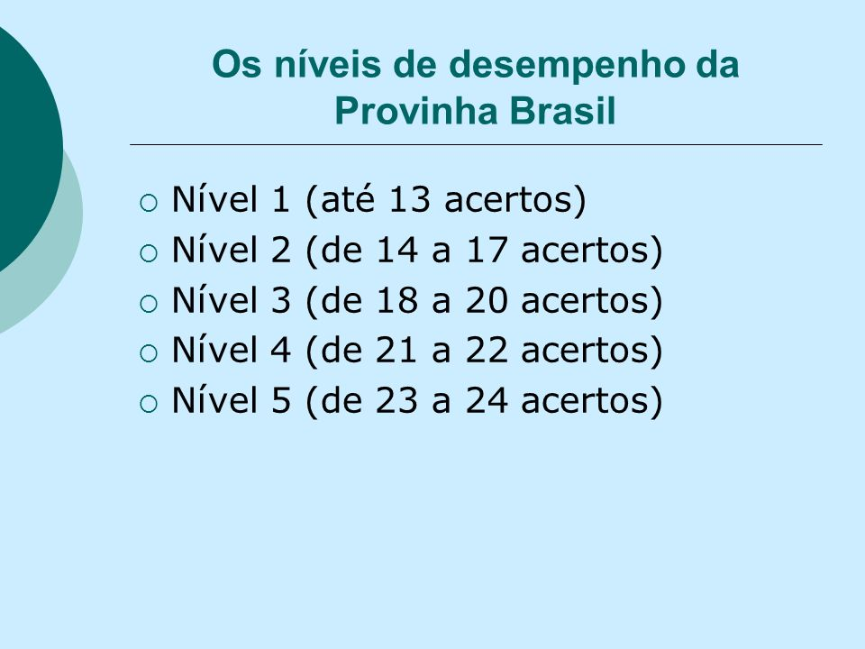 Os níveis de desempenho da Provinha Brasil