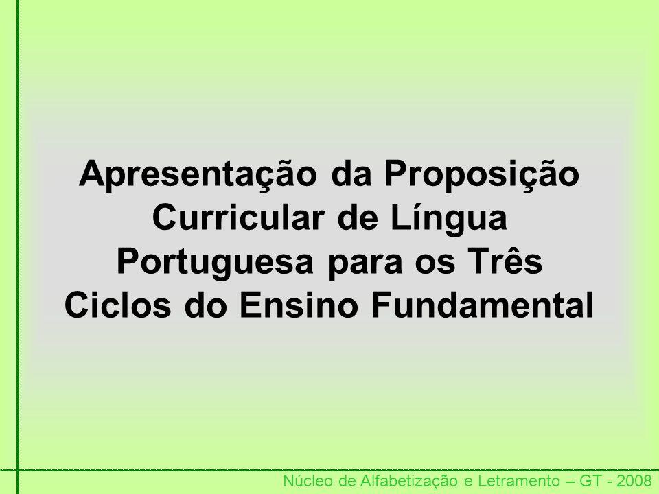 Apresentação da Proposição Curricular de Língua Portuguesa para os Três Ciclos do Ensino Fundamental