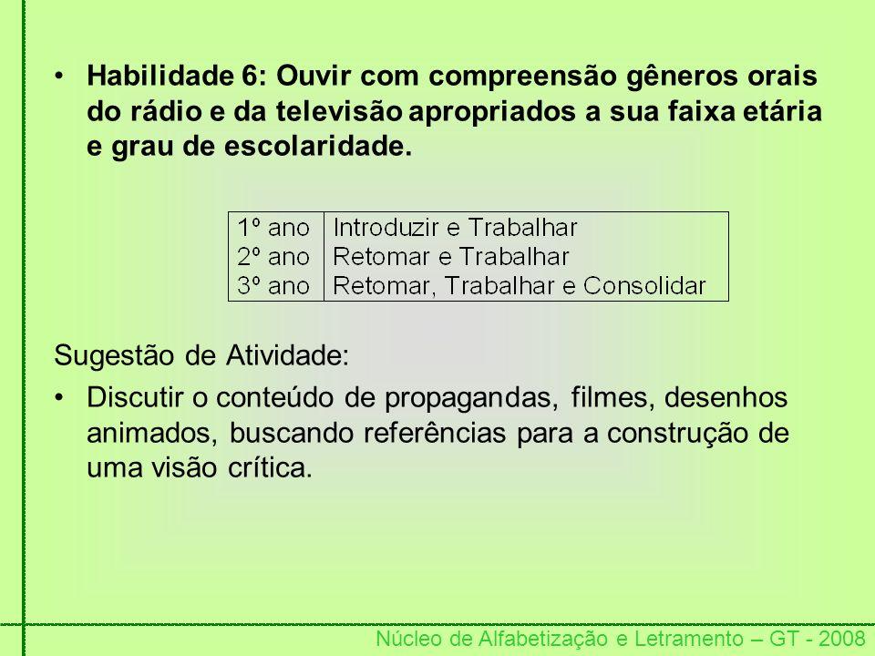 Habilidade 6: Ouvir com compreensão gêneros orais do rádio e da televisão apropriados a sua faixa etária e grau de escolaridade.