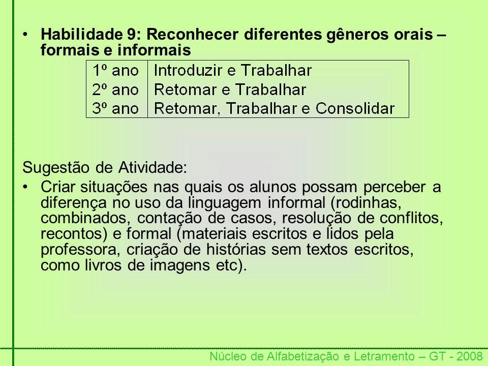 Habilidade 9: Reconhecer diferentes gêneros orais – formais e informais