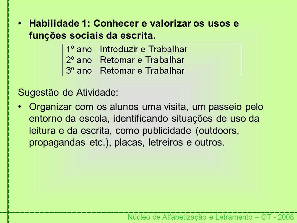 Habilidade 1: Conhecer e valorizar os usos e funções sociais da escrita.