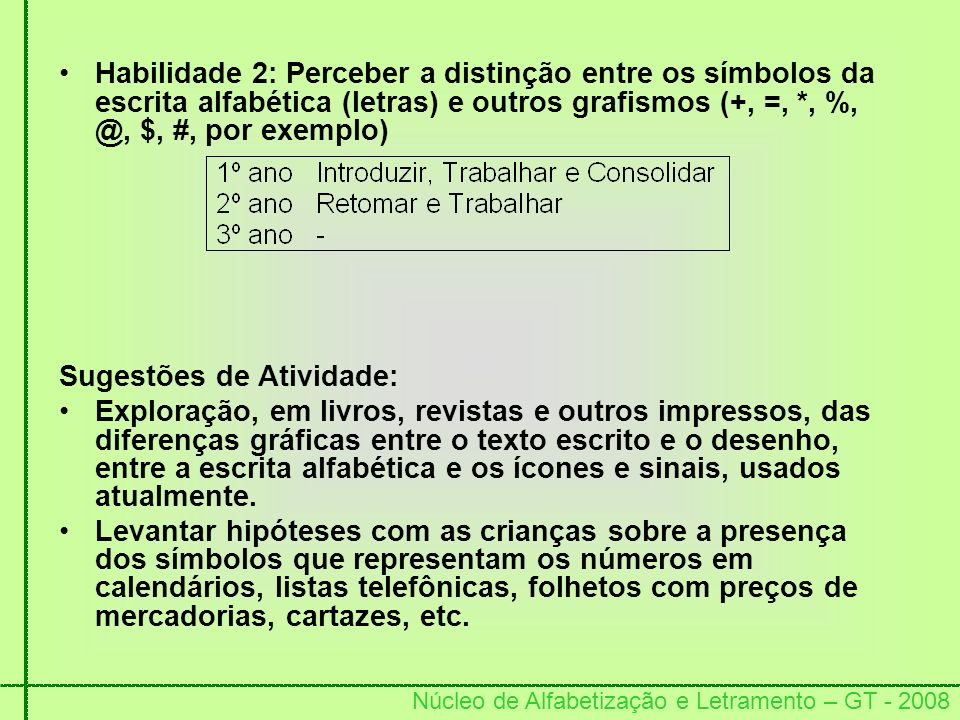 Habilidade 2: Perceber a distinção entre os símbolos da escrita alfabética (letras) e outros grafismos (+, =, *, %, @, $, #, por exemplo)