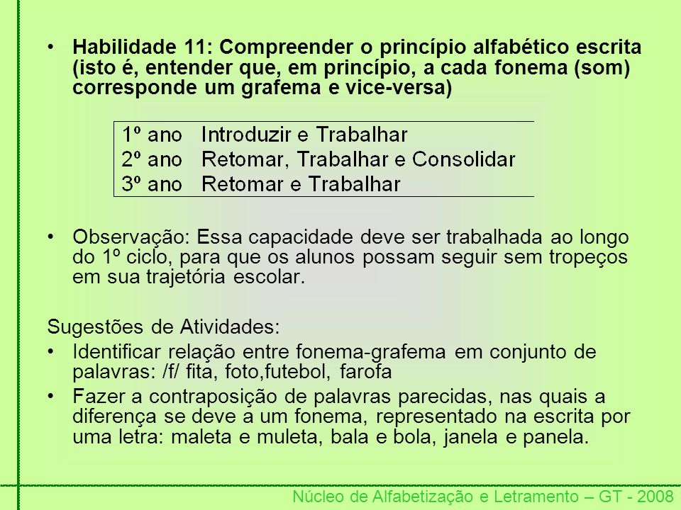 Habilidade 11: Compreender o princípio alfabético escrita (isto é, entender que, em princípio, a cada fonema (som) corresponde um grafema e vice-versa)
