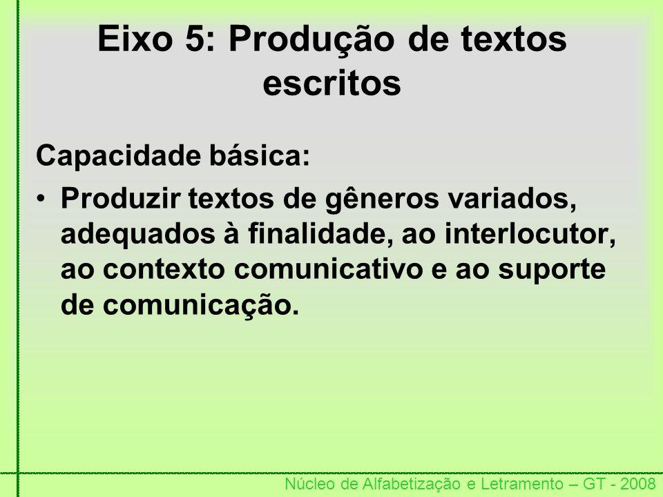 Eixo 5: Produção de textos escritos