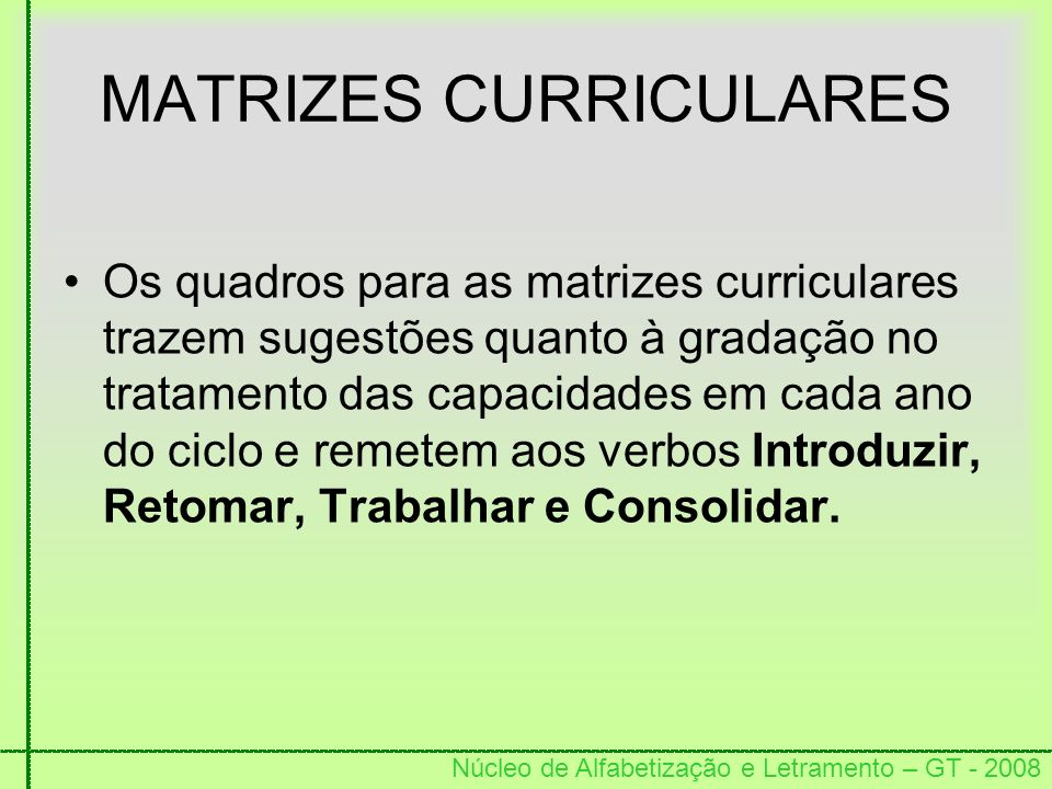 MATRIZES CURRICULARES
