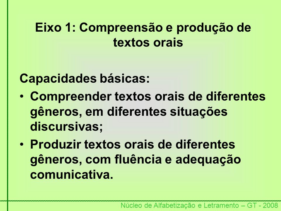 Eixo 1: Compreensão e produção de textos orais