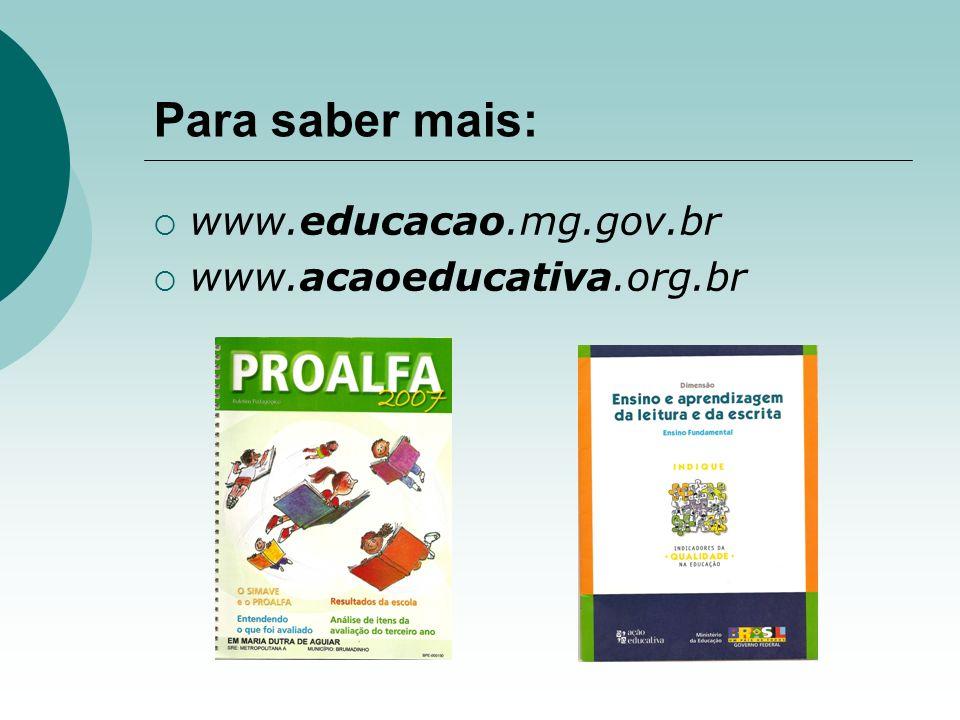 Para saber mais: www.educacao.mg.gov.br www.acaoeducativa.org.br