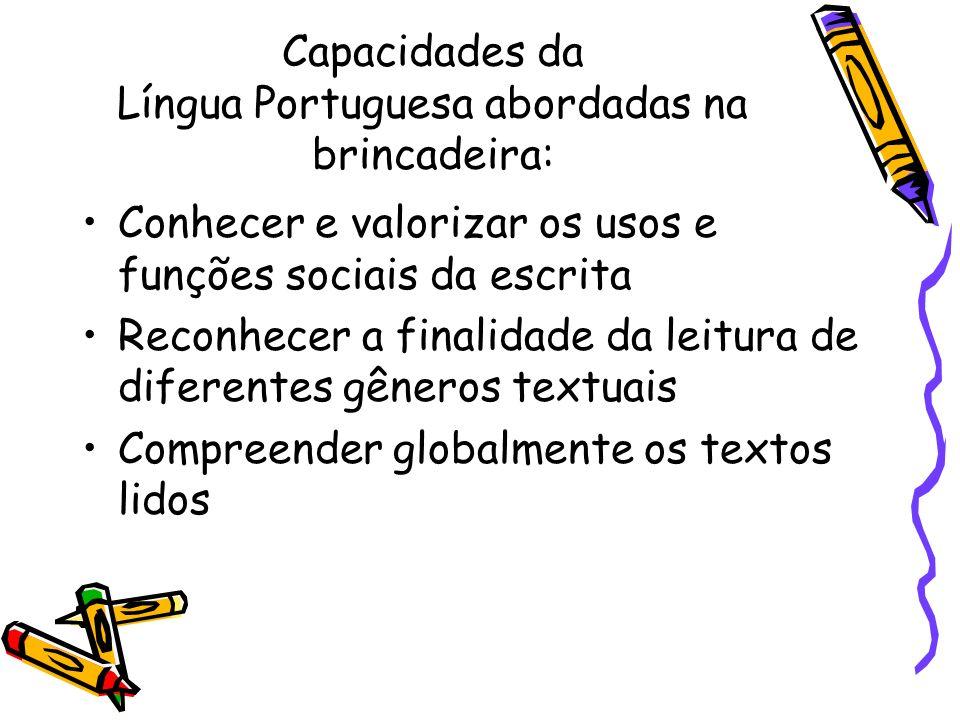 Capacidades da Língua Portuguesa abordadas na brincadeira: