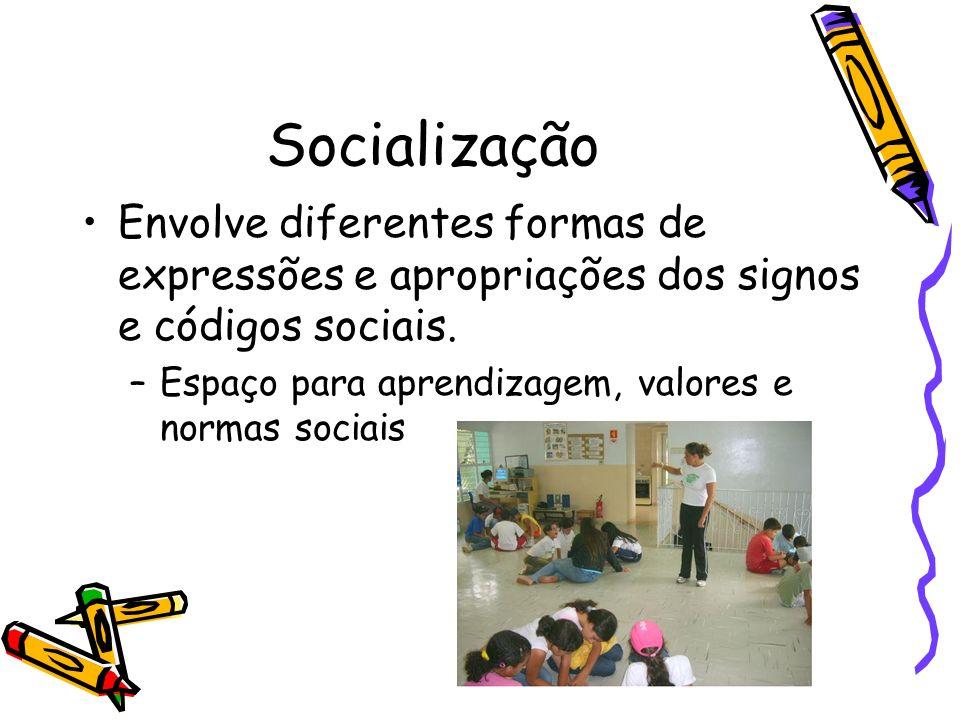 Socialização Envolve diferentes formas de expressões e apropriações dos signos e códigos sociais.