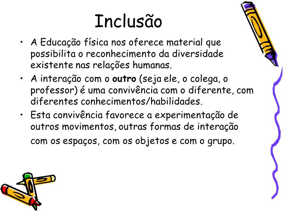 InclusãoA Educação física nos oferece material que possibilita o reconhecimento da diversidade existente nas relações humanas.