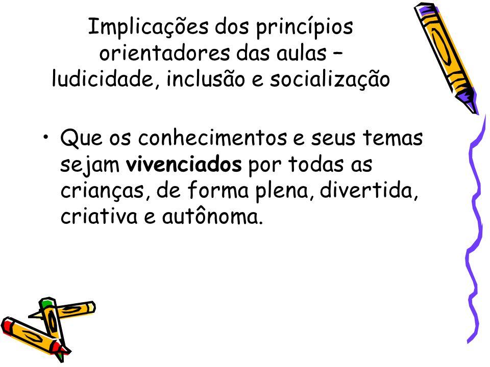 Implicações dos princípios orientadores das aulas – ludicidade, inclusão e socialização