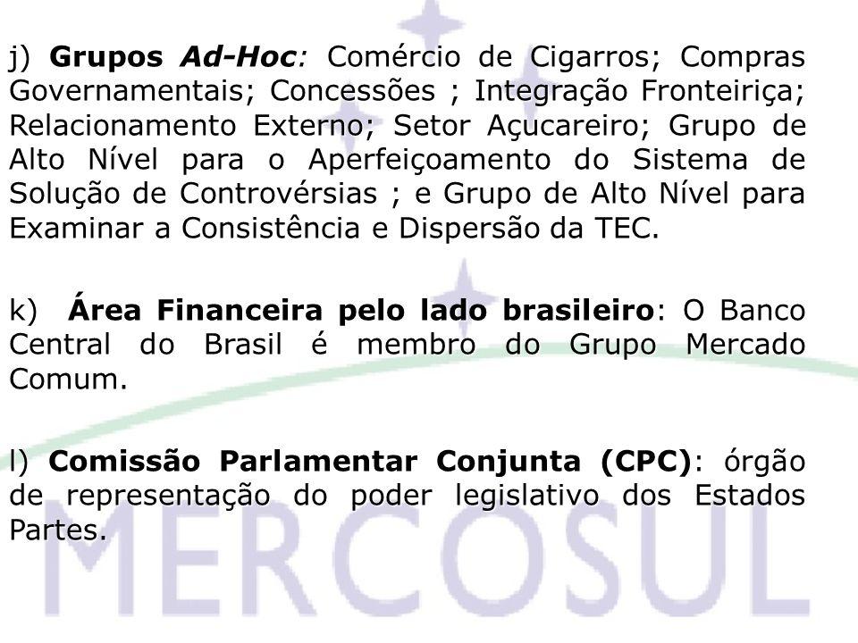 j) Grupos Ad-Hoc: Comércio de Cigarros; Compras Governamentais; Concessões ; Integração Fronteiriça; Relacionamento Externo; Setor Açucareiro; Grupo de Alto Nível para o Aperfeiçoamento do Sistema de Solução de Controvérsias ; e Grupo de Alto Nível para Examinar a Consistência e Dispersão da TEC.