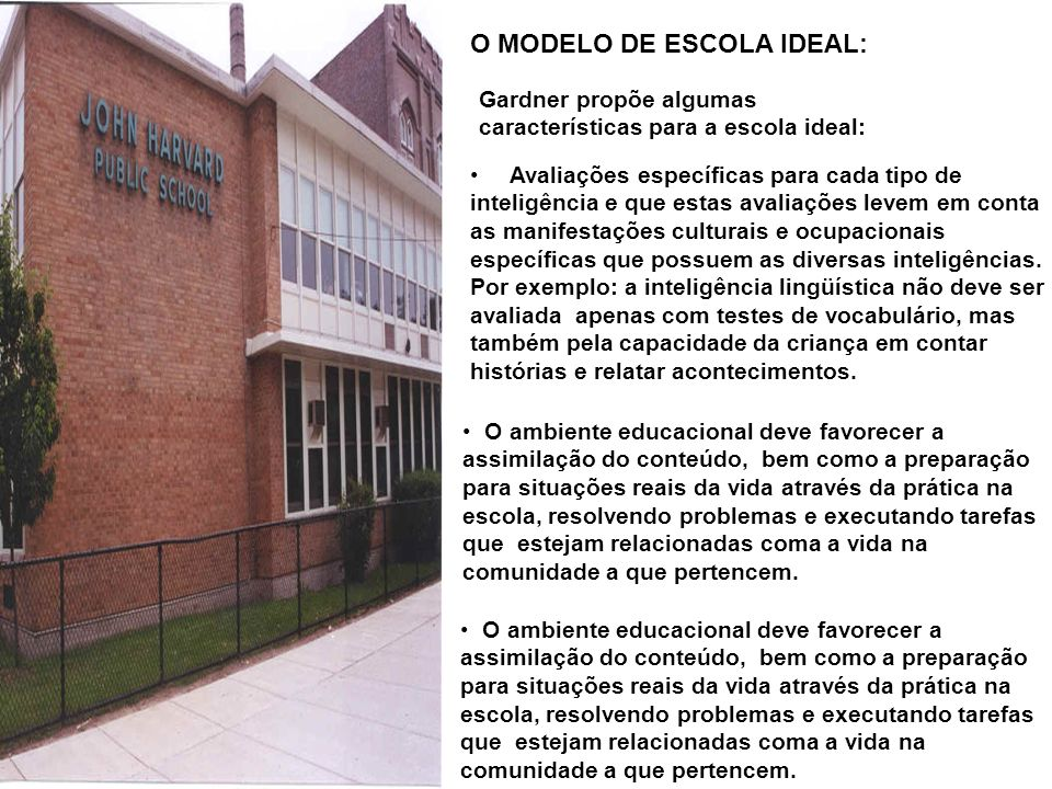 O MODELO DE ESCOLA IDEAL: