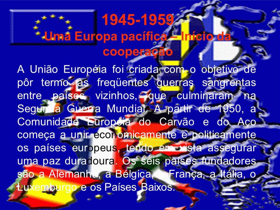 1945-1959 Uma Europa pacífica – Início da cooperação