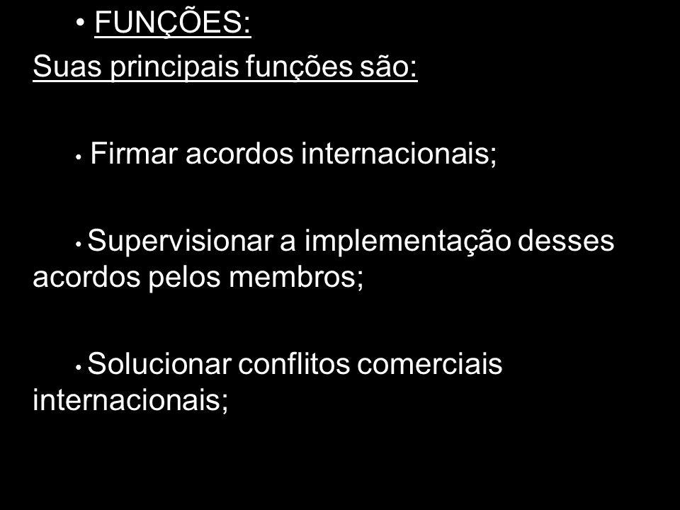 Suas principais funções são: • Firmar acordos internacionais;