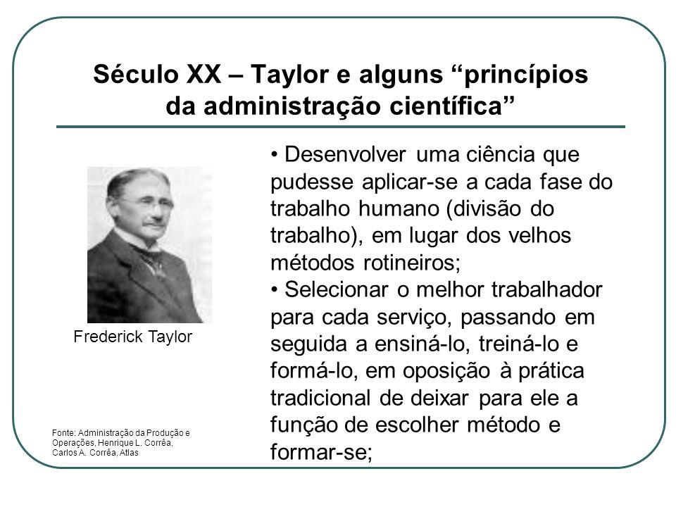 Século XX – Taylor e alguns princípios da administração científica