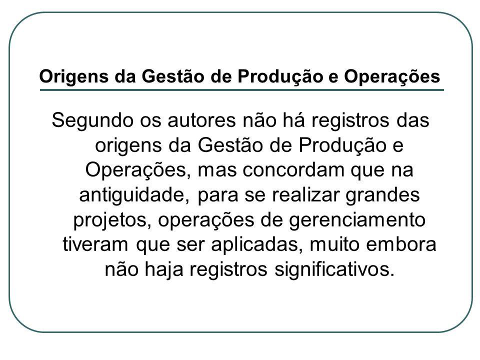 Origens da Gestão de Produção e Operações