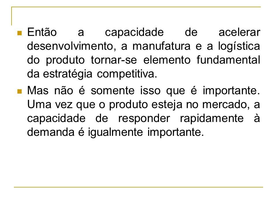 Então a capacidade de acelerar desenvolvimento, a manufatura e a logística do produto tornar-se elemento fundamental da estratégia competitiva.