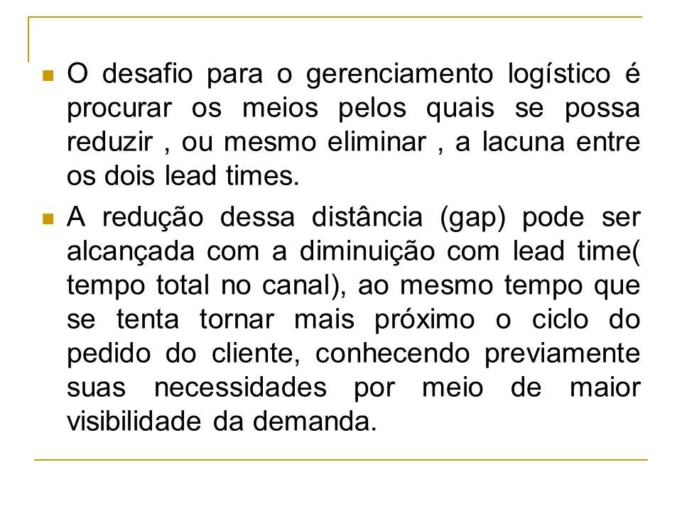O desafio para o gerenciamento logístico é procurar os meios pelos quais se possa reduzir , ou mesmo eliminar , a lacuna entre os dois lead times.
