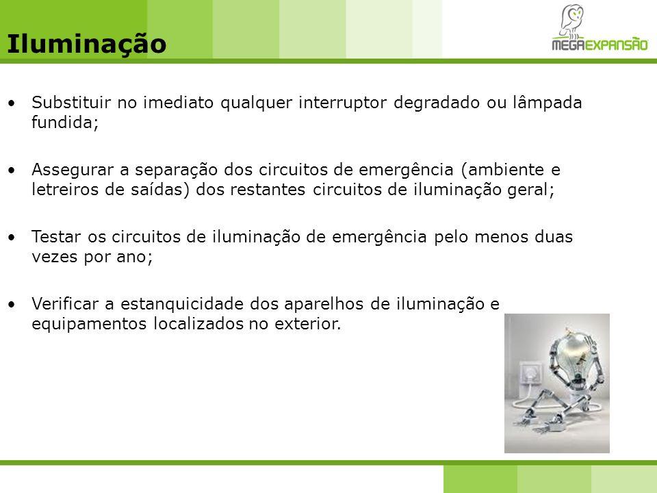 Iluminação Substituir no imediato qualquer interruptor degradado ou lâmpada fundida;