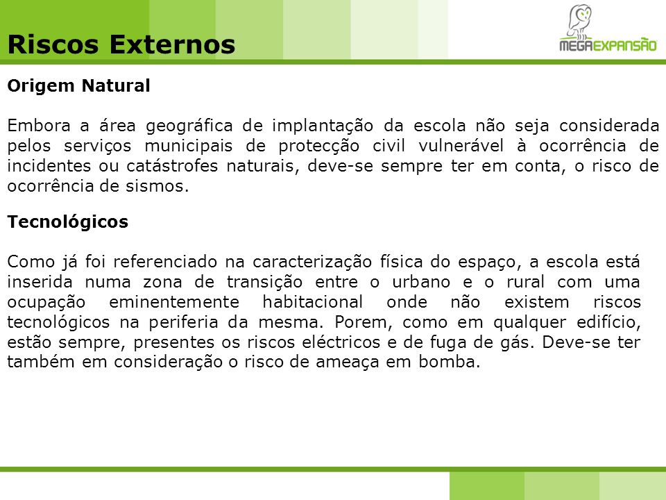Riscos Externos Origem Natural
