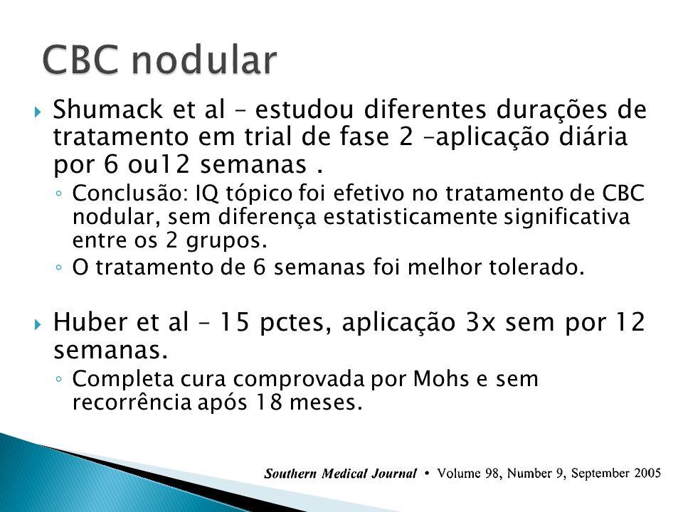 CBC nodular Shumack et al – estudou diferentes durações de tratamento em trial de fase 2 –aplicação diária por 6 ou12 semanas .