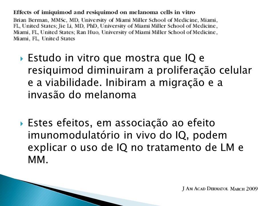 Estudo in vitro que mostra que IQ e resiquimod diminuiram a proliferação celular e a viabilidade. Inibiram a migração e a invasão do melanoma