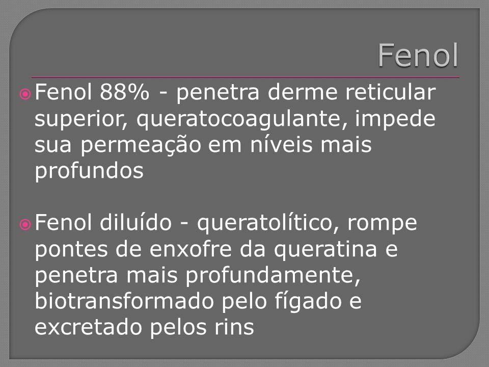 Fenol Fenol 88% - penetra derme reticular superior, queratocoagulante, impede sua permeação em níveis mais profundos.